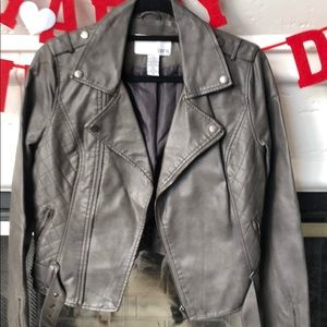Bar III pleather moto grey jacket in Size M